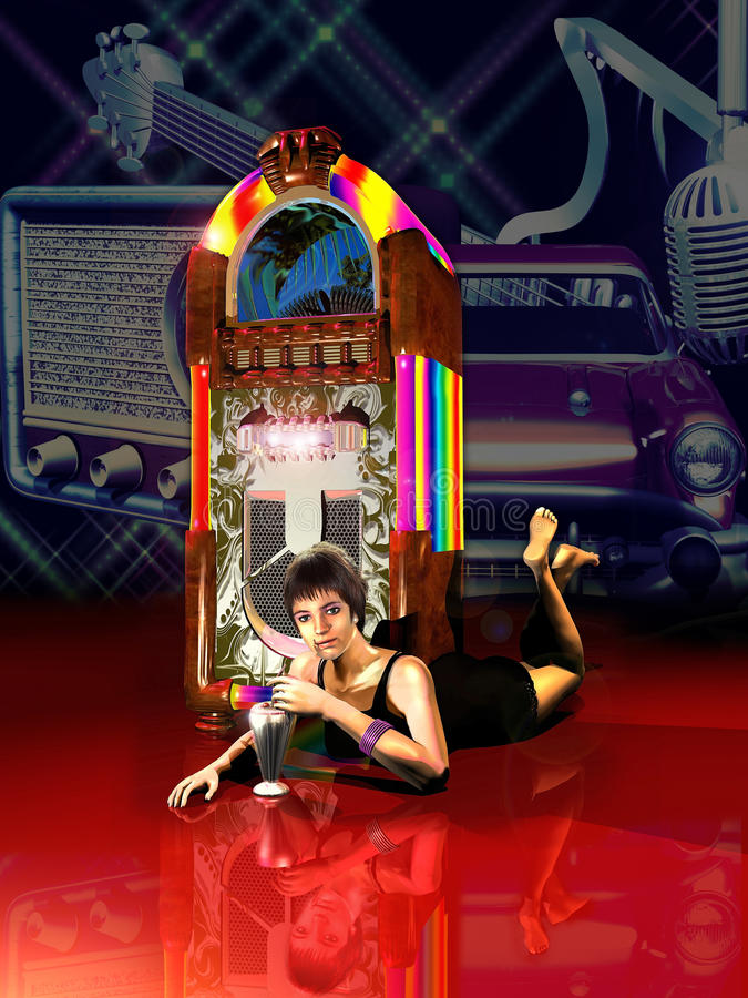 Nostalgic fifties. Young woman spread on the floor close to a jukebox listening to old vinyl records and drinking a milkshake. Image of vintage objects from the royalty free illustration