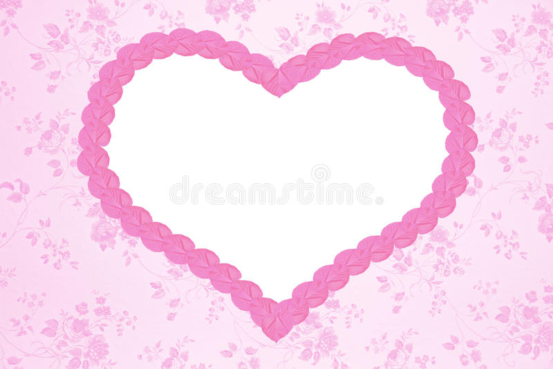 Nostalgic floral background with pink heart. And copy space stock image