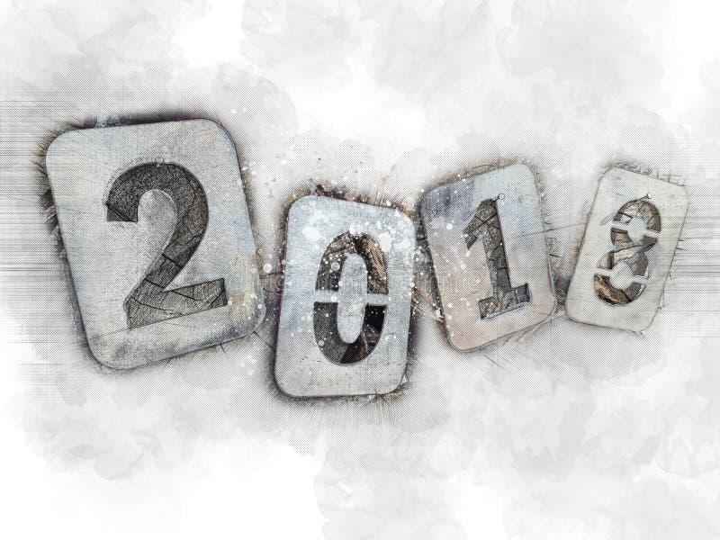 Nostalgic illustration for the Christmas holidays, goodbye 2018. Iron numbers on a pile of firewood. stock image