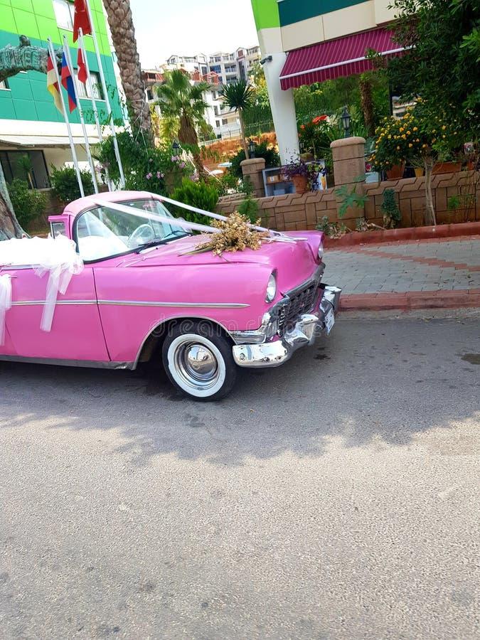 Nostalgie car. Pink Old an nostalgie car for future, this photo taken whre wedding royalty free stock image
