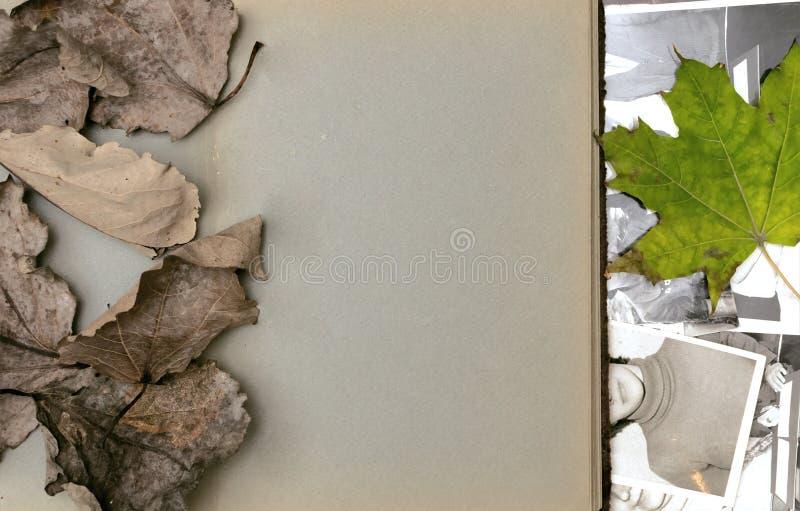 Nostalgieconcept gedenkschriften Het open uitstekende boek van het fotoalbum met blanco pagina's met exemplaarruimte stock foto's