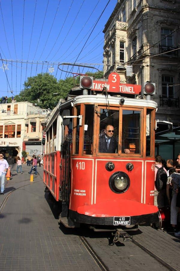 Nostalgische Tram taksim-Tunel stock foto