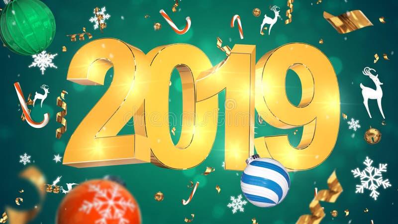 Nostalgische Weihnachtsdekoration, goldener Text 2019, grüner Hintergrund mit buntem Lametta, Weihnachtsspielwaren lizenzfreie stockfotos