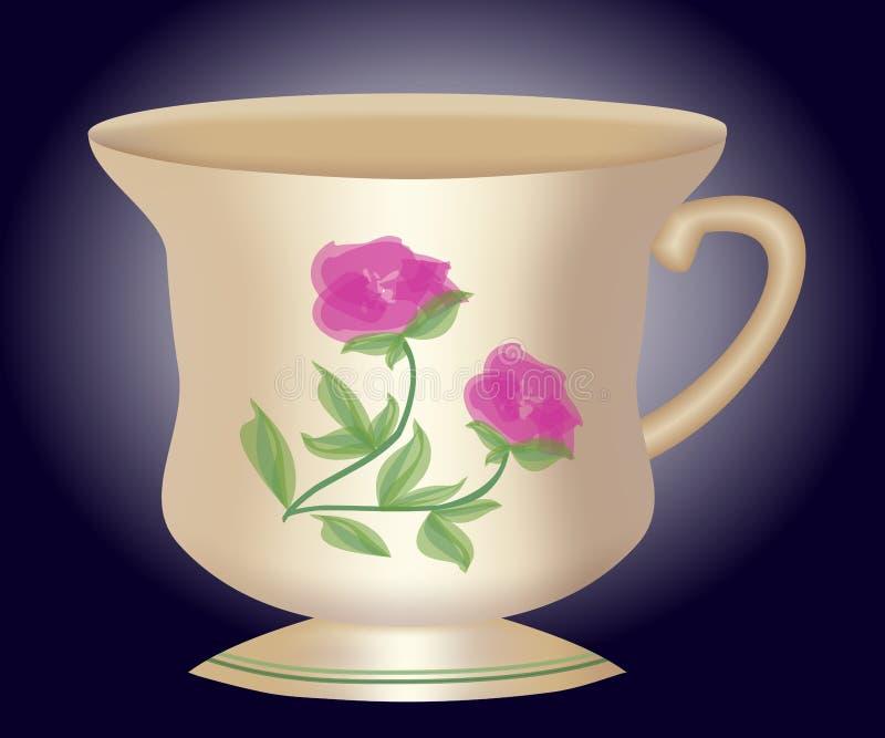 Nostalgisk kaffekopp med den polska och vita blomman för brunt, traditionell lantlig-stil keramik, koppen 3d på beiga och bruntba vektor illustrationer