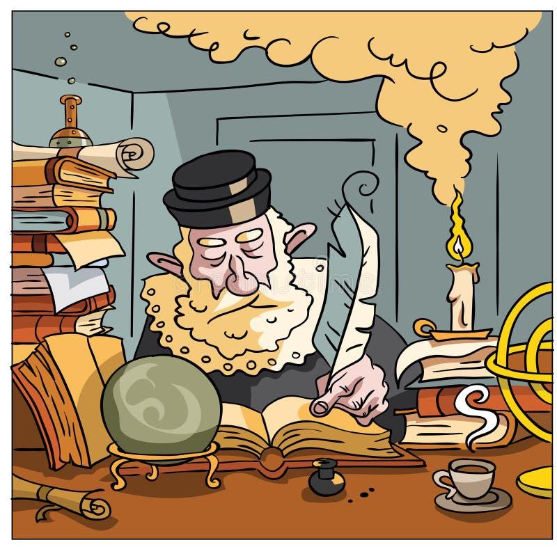 Nostradamus que escreve o futuro ilustração royalty free