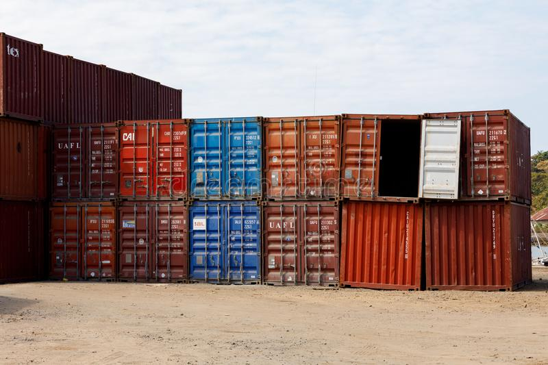 Ship containers in the port of Nosy Be, Madagascar. NOSY BE ,MADAGASCAR - NOVEMBER 3.2016 ship containers ready to be loaded in the port of Nosy Be, Madagascar`s stock images