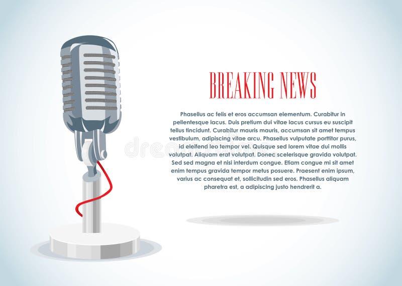 Notícia & microfone ilustração stock