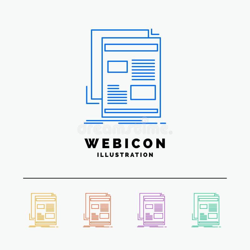 notícia, boletim de notícias, jornal, meio, linha de cor molde do papel 5 do ícone da Web isolado no branco Ilustra??o do vetor ilustração stock