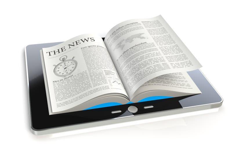 Notícia da almofada da tabuleta ilustração do vetor