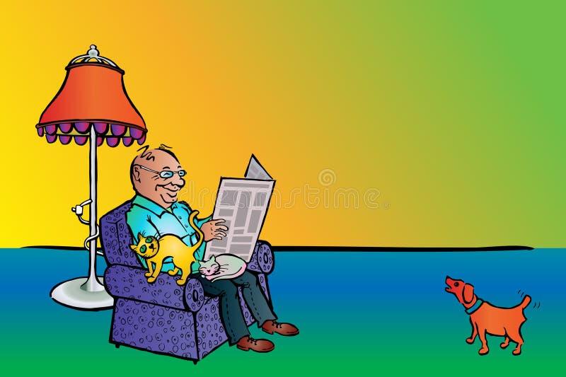 Notícia da leitura do homem com gatos e cão fotos de stock royalty free