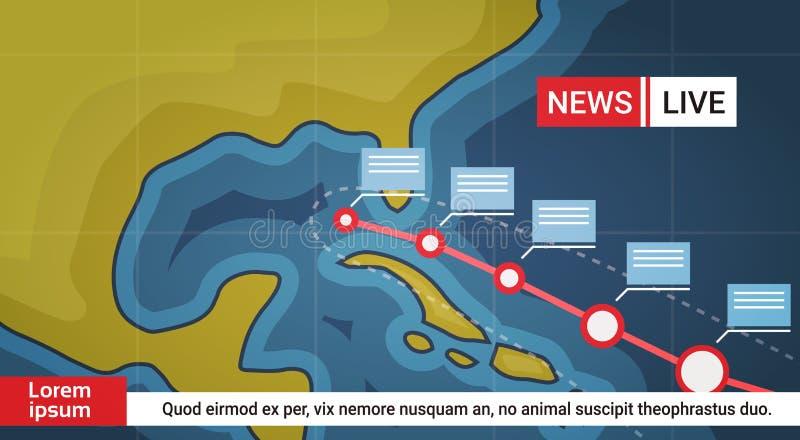 Notícia da vida sobre o broadcast storm do tempo do furacão ou imagem do furacão que vem ao conceito da costa dos EUA ilustração do vetor