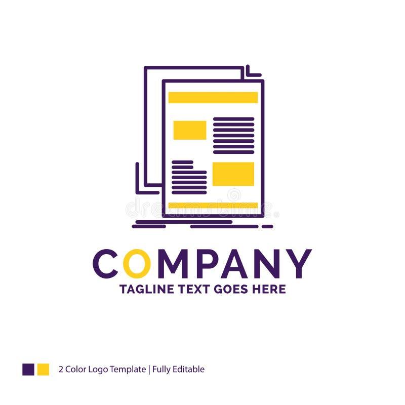 Notícia de Logo Design For do nome da empresa, boletim de notícias, jornal, meio ilustração do vetor