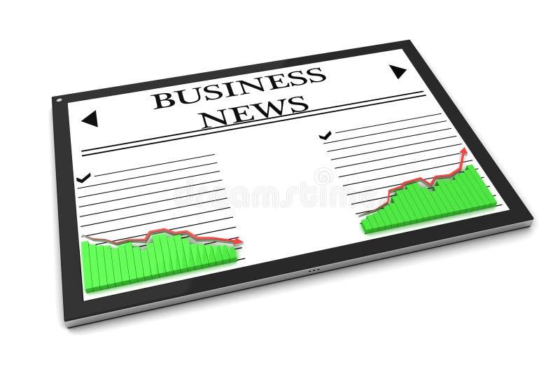 Notícia de negócio no PC da tabuleta ilustração do vetor