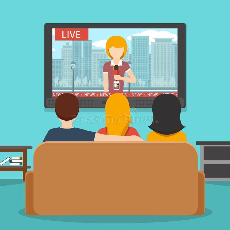 Notícia de observação dos povos na televisão Ilustração lisa do vetor ilustração stock