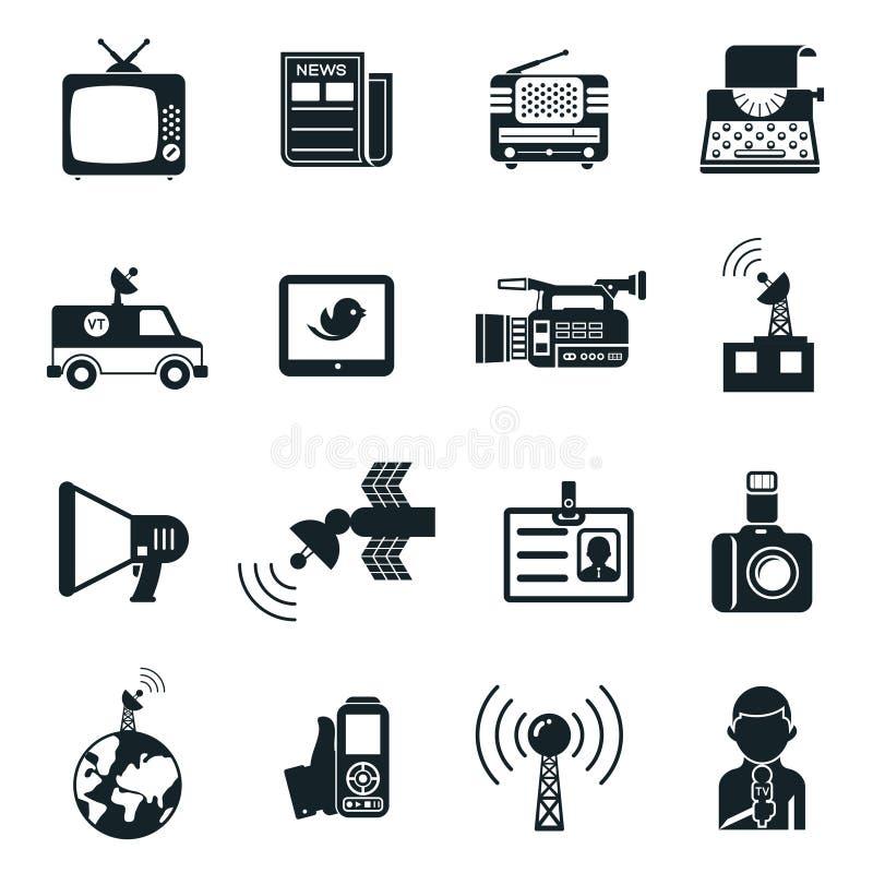 Notícia e ícones dos meios ilustração stock