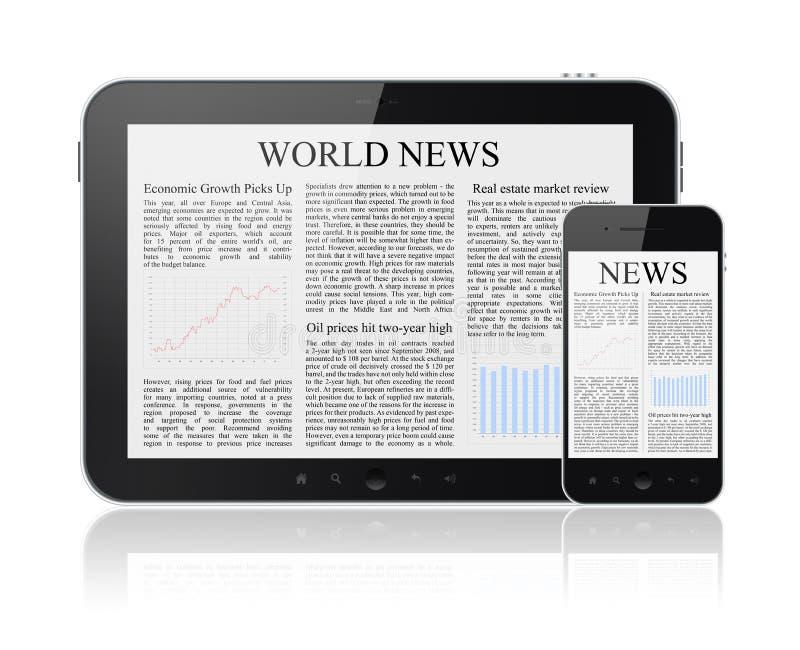 Notícia em dispositivos modernos de Digitas ilustração do vetor