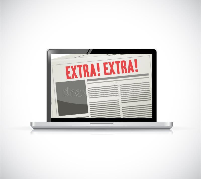 notícia extra do portátil em linha ilustração stock