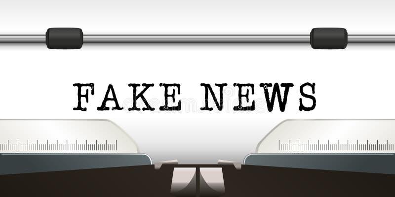 A notícia falsificada da palavra é escrever em uma folha branca de uma máquina de escrever ilustração royalty free