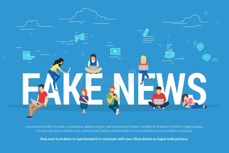 Notícia falsificada e e ilustração lisa do vetor do conceito da fabricação da informação da notícia falsificada de leitura dos jo ilustração do vetor
