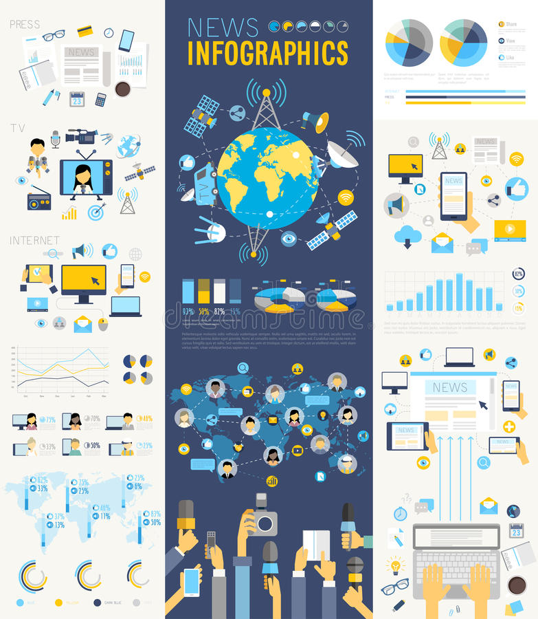 A notícia Infographic ajustou-se com cartas e outros elementos ilustração royalty free