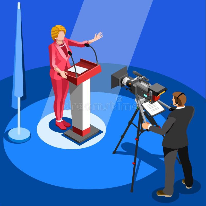 Notícia Infographic da eleição nós porta-voz Vetora Isometric Peopl ilustração royalty free