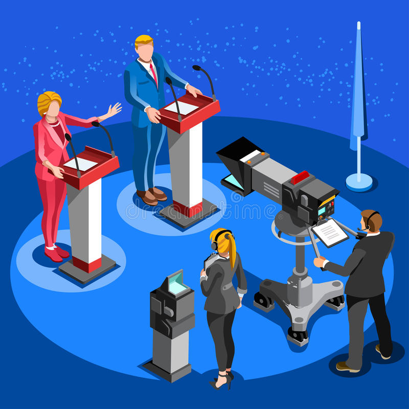 Notícia Infographic Live Stream Vetora Isometric People da eleição ilustração royalty free