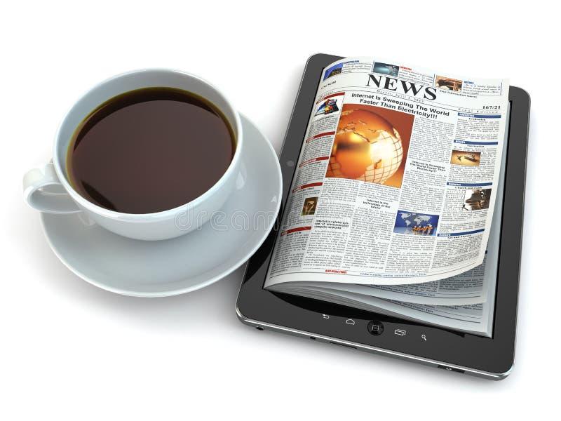 Notícia no PC da tabuleta com copo de café. ilustração do vetor