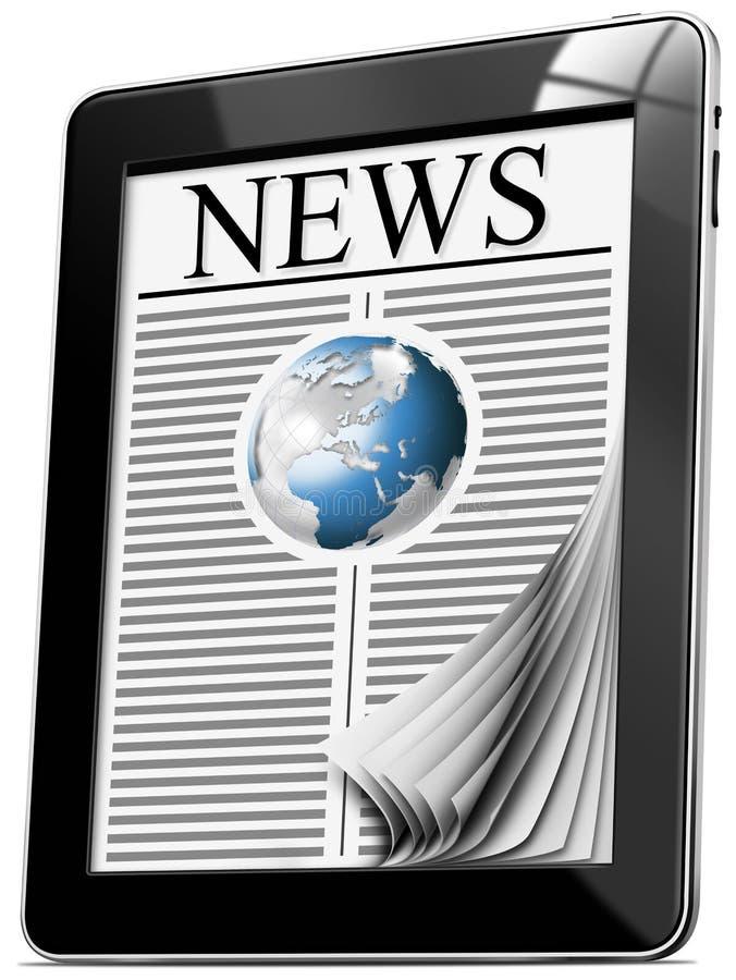Notícia no PC da tabuleta com páginas ilustração do vetor