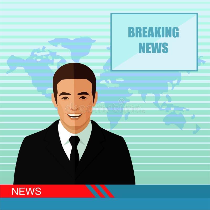 notícia, repórter do estúdio ilustração do vetor
