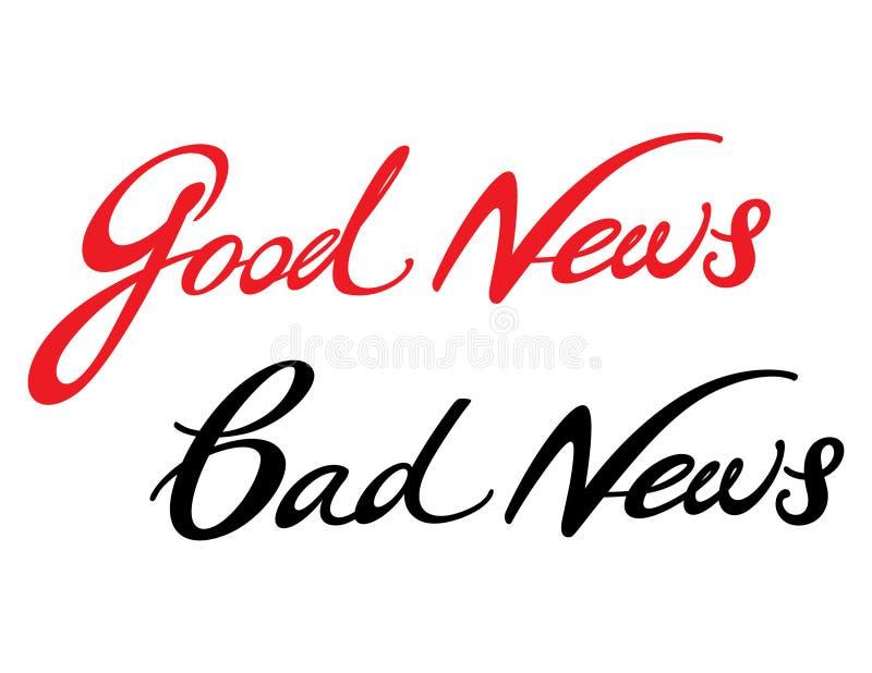 Notícia ruim de boa notícia ilustração stock