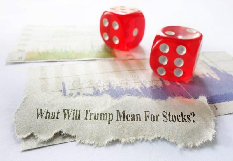 Notícia sobre o mercado conservada em estoque do trunfo imagem de stock