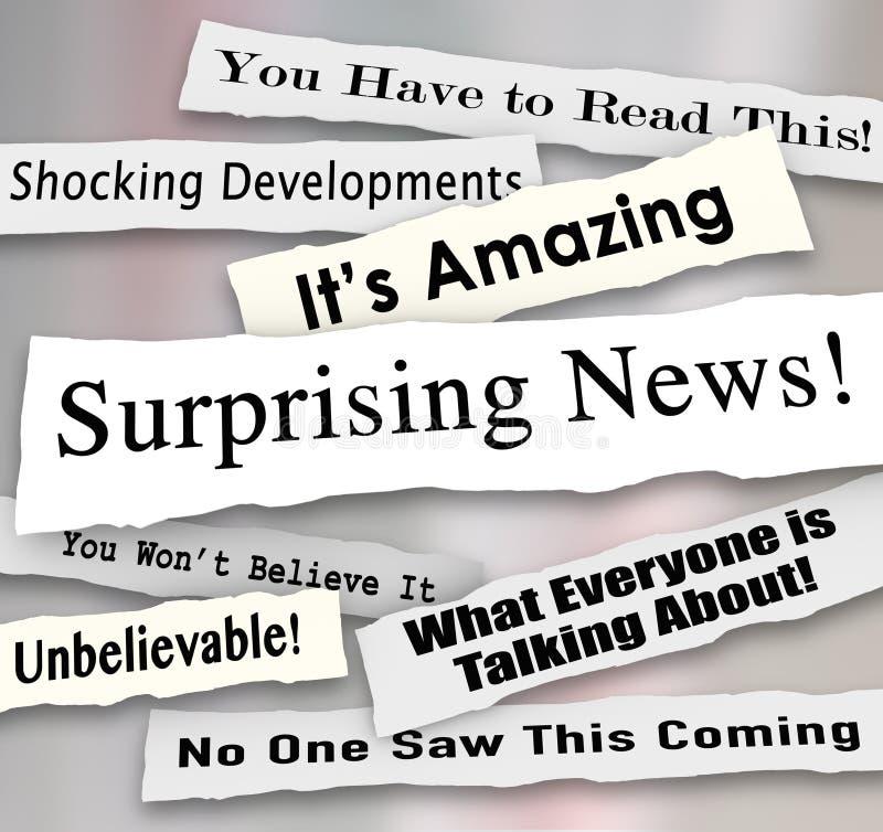 Notícia surpreendente que choca título inacreditáveis notícias rasgadas rasgadas ilustração do vetor