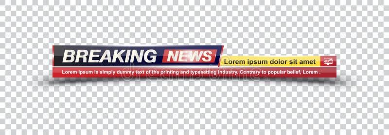 Notícias de última hora do título do molde no contexto transparente para o canal de televisão da tela Ilustração lisa eps10 ilustração stock