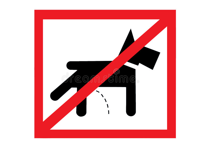 Not allowed to pee for pets. Signal of not allowed area to pee for pets, over white stock photos