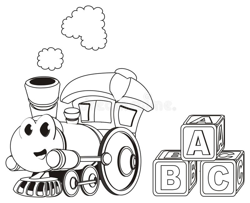 Not colored happy toy train with cubs. Paint happy toy train with three large toy cubs vector illustration