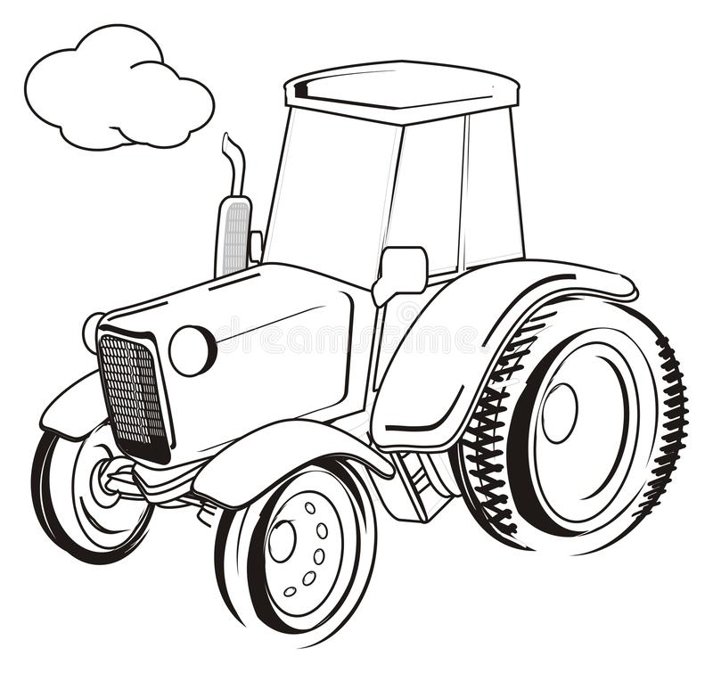 Not colored tractor. Coloring tractor driving on a white background stock illustration