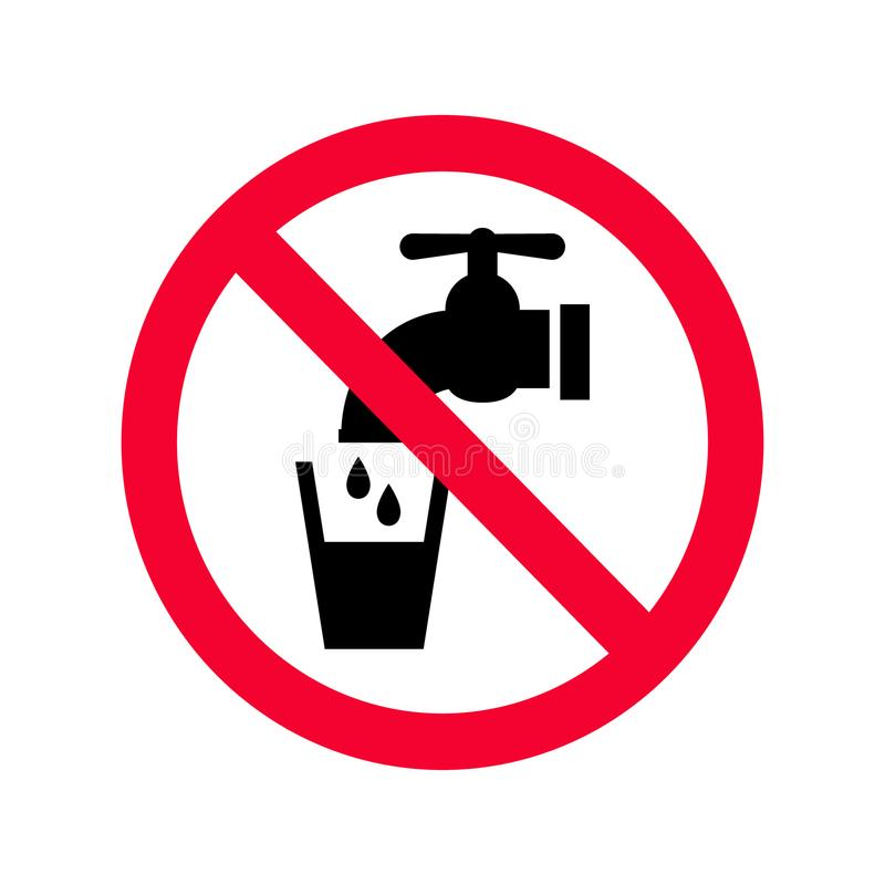 Free Not Drinkable Water Sign. Red Prohibition Non Potable Water Sign. Royalty Free Stock Photo - 113262735
