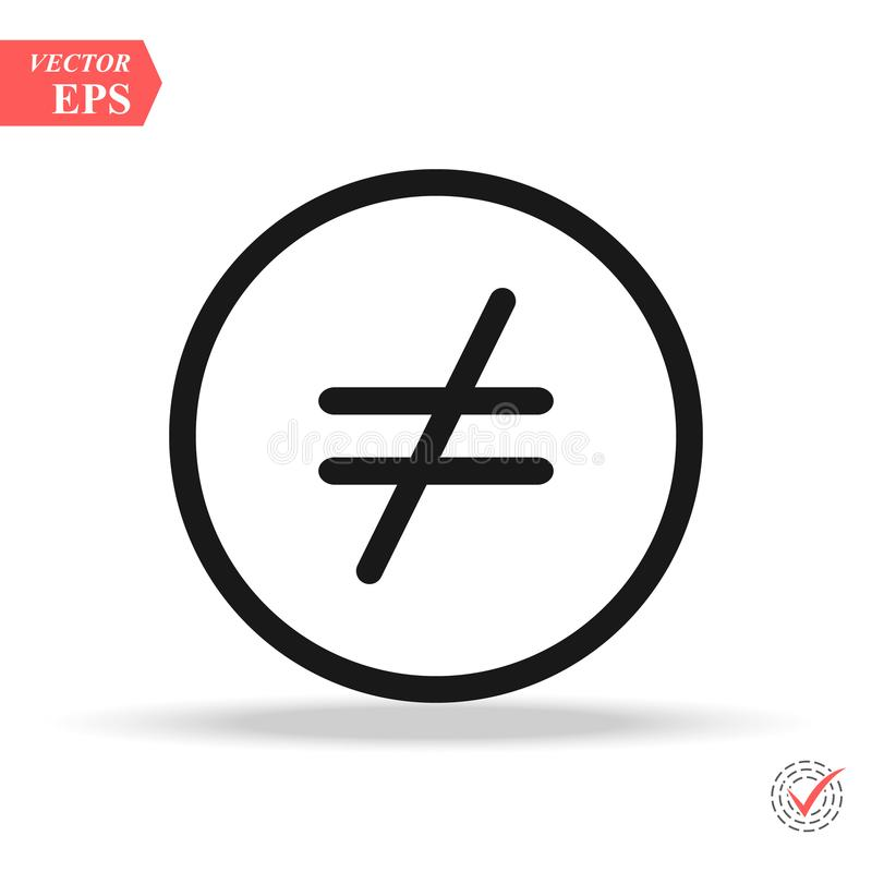 Not equal icon, illustration. Flat design style. not equal icon illustration isolated on White background, not equal. Icon Eps10 vector illustration