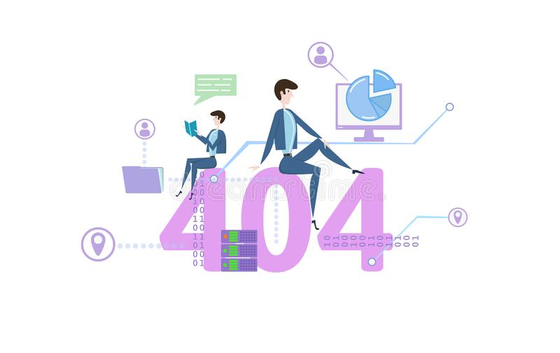 404, Not Found, 404 error message. Concept table with people and icons. Colored flat vector illustration on white stock illustration