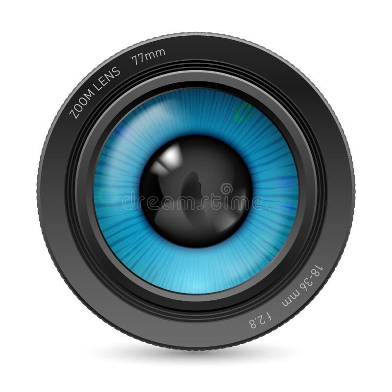 Not found title. Camera lens on white background. Illustration blue eye vector illustration