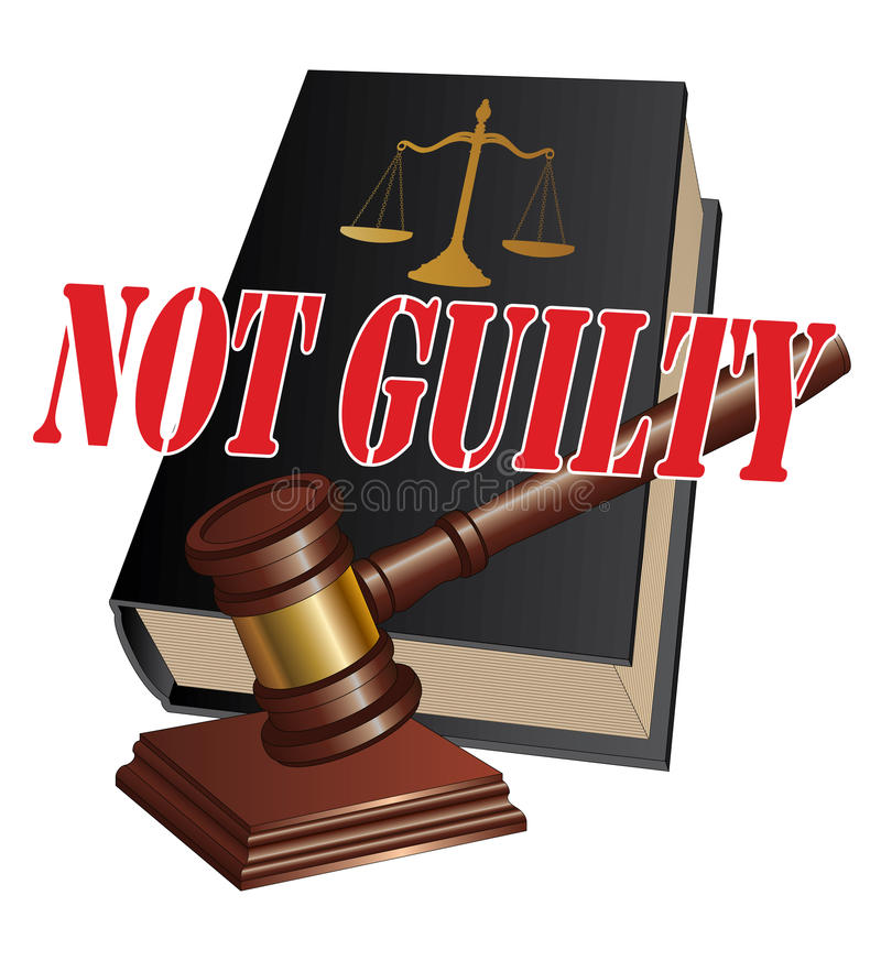 Not Guilty Verdict. Illustration of a design representing a not guilty verdict as the outcome of legal proceedings in a court of law royalty free illustration