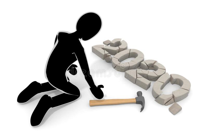 Not happy 2020. Destroy with a hammer. 3D illustration stock illustration