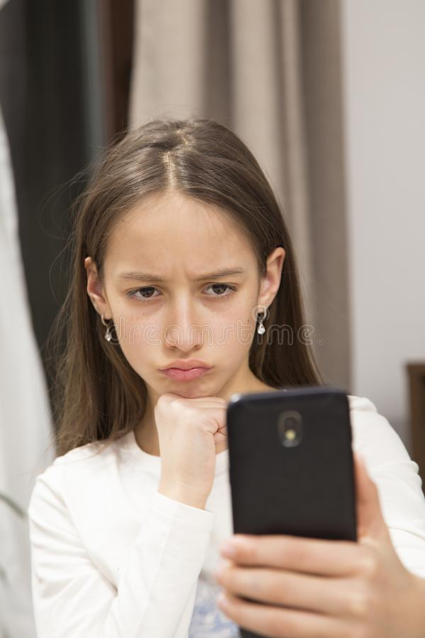 Not happy, make a selfie royalty free stock photos