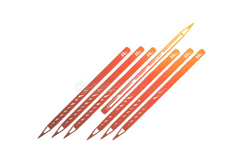 Not like everyone else, difference, otherness, social isolation and dissent. One pencil turning to another side among others, outcast, discrimination concept vector illustration