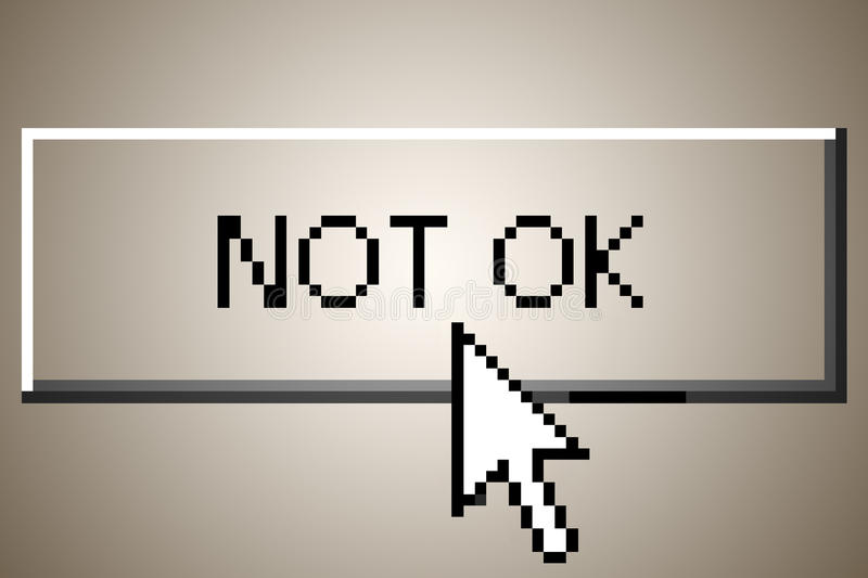 Not ok button. A computer button that says not ok about to be clicked vector illustration