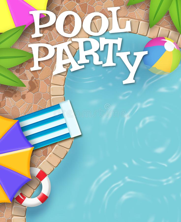 Pool Party Invitation Art Really Cool. Not the ordinary Pool Party Art, this is cool and looks great, make your party stand out, because this is great royalty free illustration