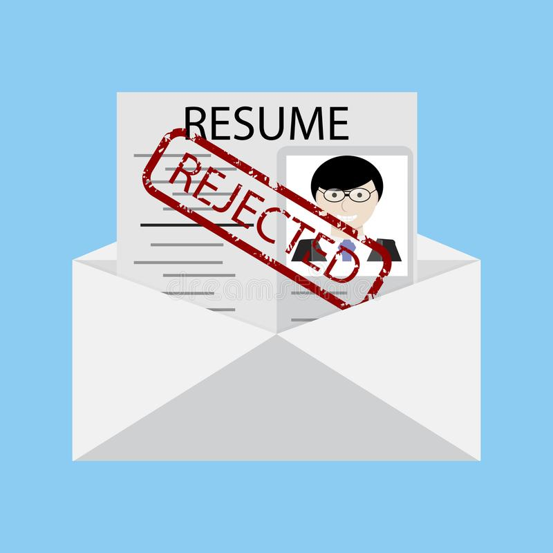 Not recruited. Letter with stamp royalty free illustration