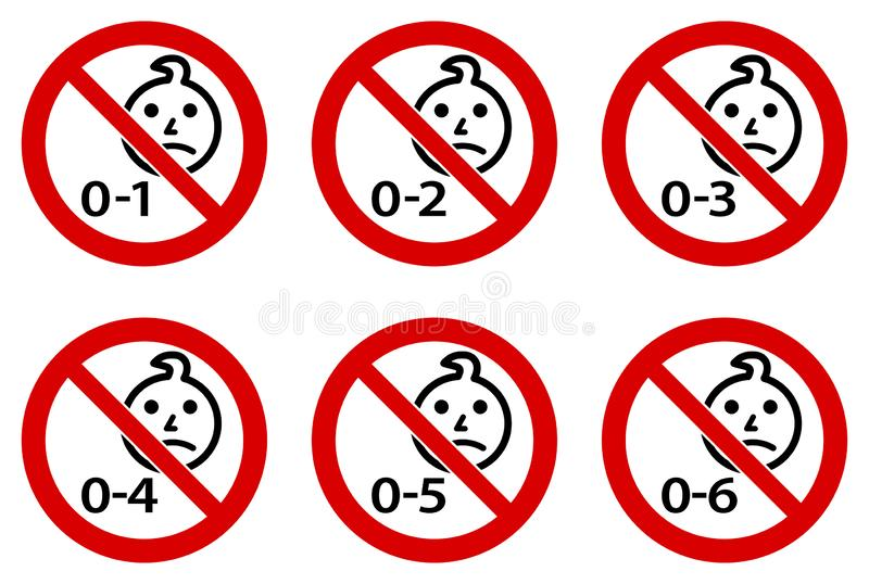 Not suitable for children symbol. Simple toddler head drawing in red crossed circle. Version for ages 1 to 6.  royalty free illustration