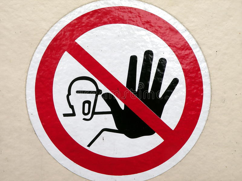 Download Not to touch sign stock photo. Image of people, body - 14535378