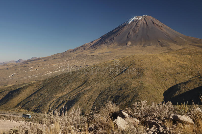 Not typical view of active volcano Misti royalty free stock photo